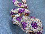 Anel de diamante com design de cobra - serpente