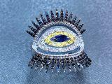 Anel de diamante com olho no meio - design diferente
